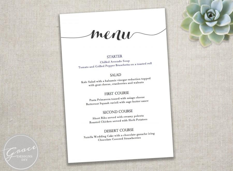 Printable Black Menu Template \/ Calligraphy Style Script\/ Instant - dinner party menu template