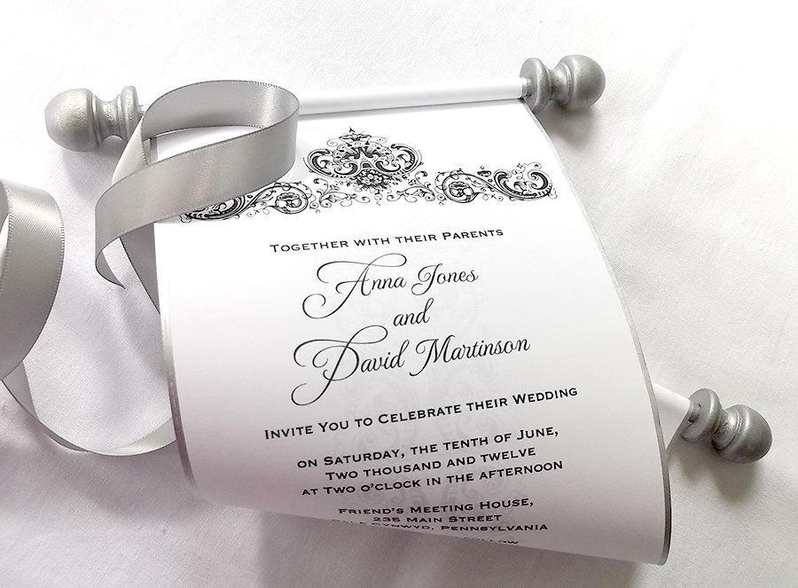 Elegant Winter Wedding Invitation Scroll, Black And Silver Damask