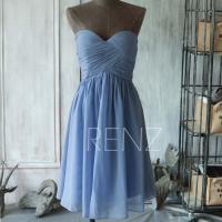 2015 Short Slate Blue Bridesmaid Dress, Strapless Blue ...
