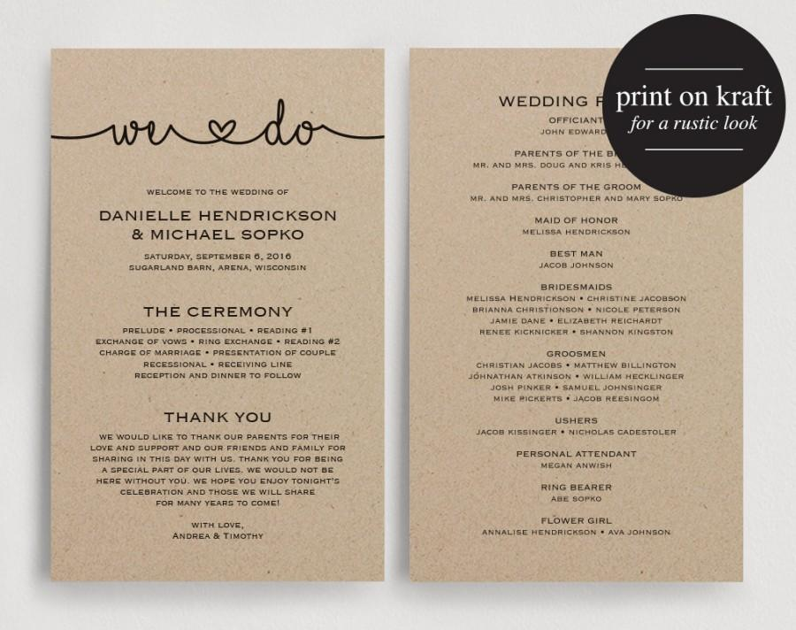 Wedding Programs Instant Download, Printable Template - Printable - wedding program