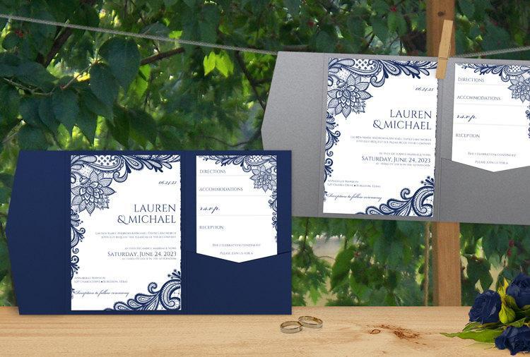 SALE! Pocket Folder Wedding Invitation Template Set - Download - ms word for sale