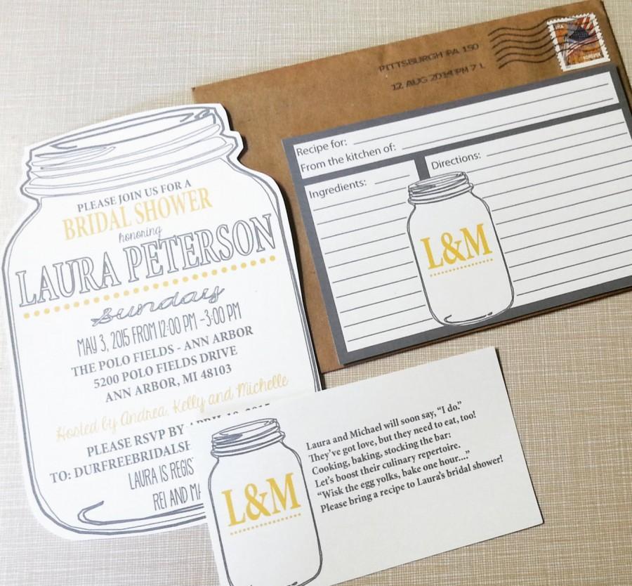 Mason Jar Bridal Shower Invitations And Recipe Cards, Bridal Shower - double recipe cards