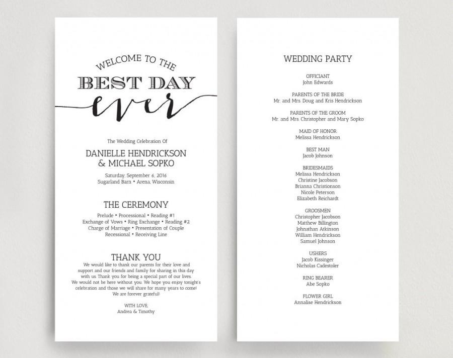 Wedding Programs, Wedding Program Instant Download, Wedding Program