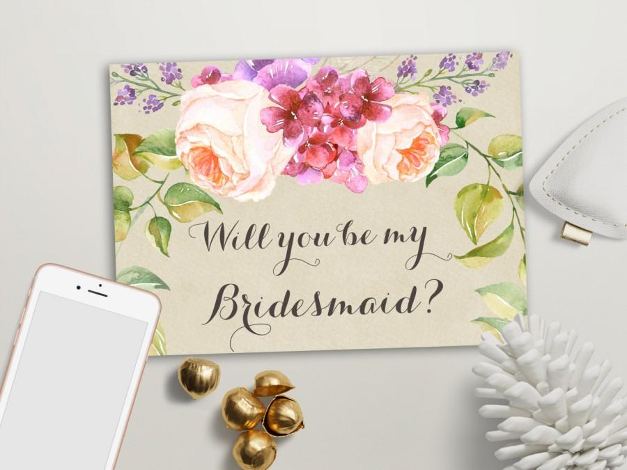 Will You Be My Bridesmaid Card Printable, Maid Of Honor  Matron Of