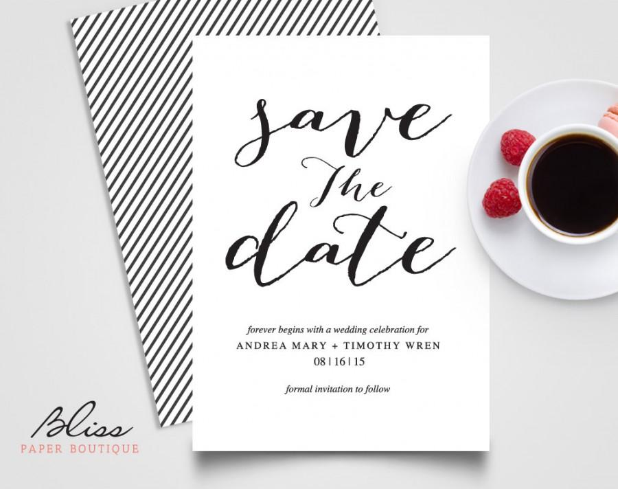 Black And White Custom Printable Save The Date / Save-The-Date - Save The Date Wedding Templates