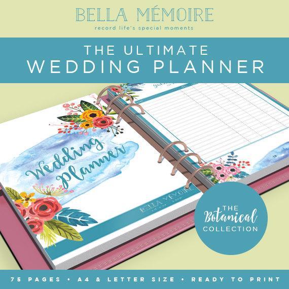 Printable Wedding Planner - Botanical Collection   INSTANT DOWNLOAD