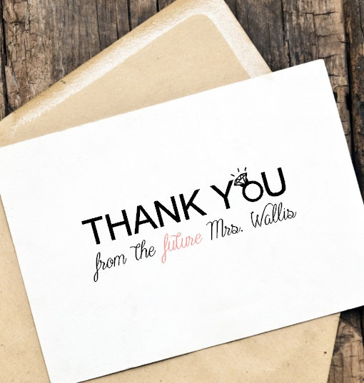 Bridal Shower Thank You Wedding Card Set, Thank You From The Future
