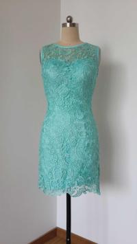 2015 Sheath Turquoise Blue Lace Short Bridesmaid Dress ...