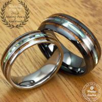 Black Ceramic And Tungsten Wedding Ring Set With Abalone ...