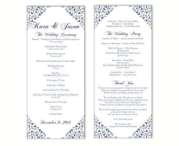 Wedding Program Template DIY Editable Text Word File Instant