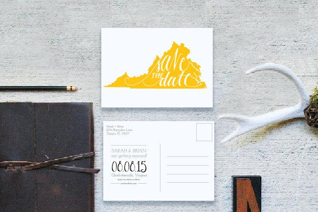 State Save The Date Postcard - Hand Lettered Save The Date, Map Save - save date postcard