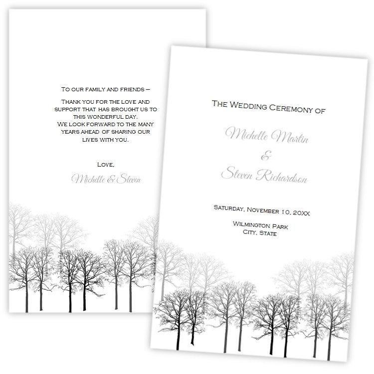 Folded Wedding Program Template, Winter Forest, DIY Printable