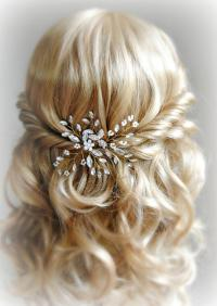 Crystal And Pearl Hair Pins, Gold Wedding Hair Pins