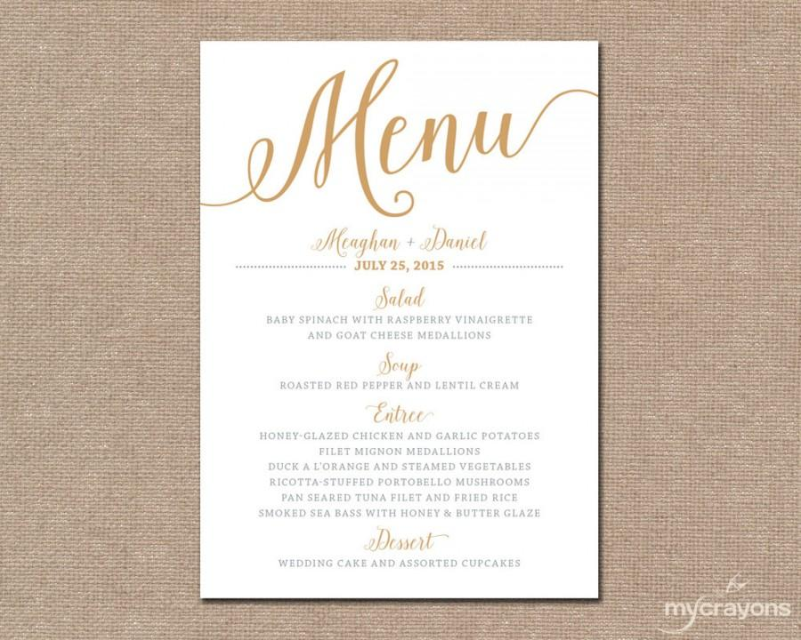 Gold Wedding Menu Card, Printable Wedding Menu   Bella Script