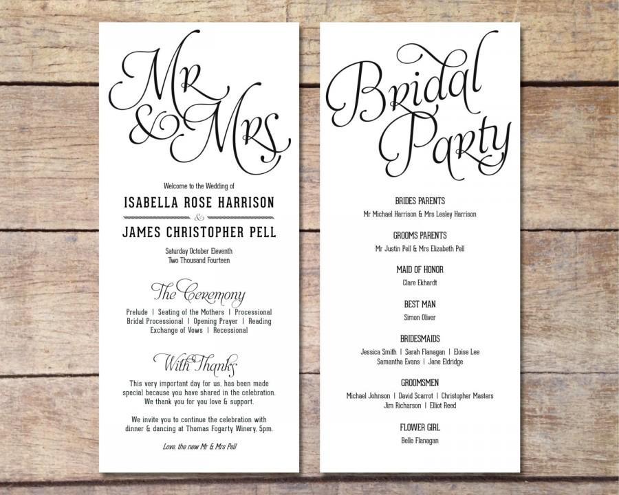 Simple Wedding Program - Customizable - Elegant Design - Simple