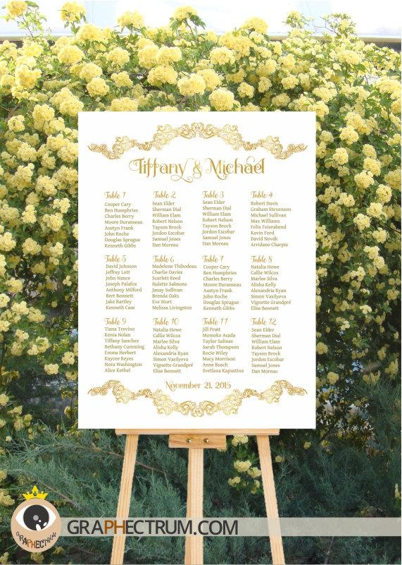 Wedding Seating Chart DIY Printable / Floral GOLD Crown Wedding Sign