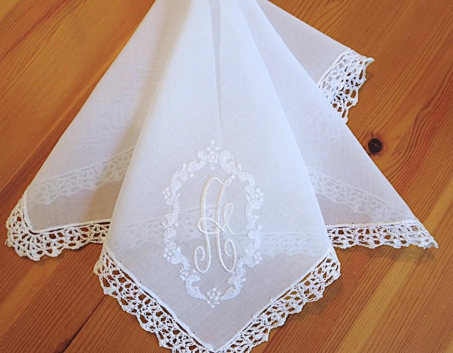 monogram handkerchief wedding
