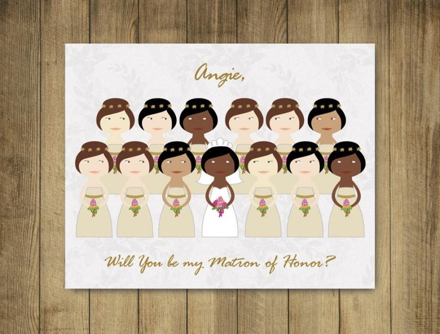 Custom Bridesmaid Cards - Will You Be My Bridesmaid Cards, Matron Of