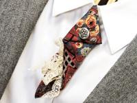 Silk Necktie Brooch Arrow Neck Tie Eco Chic Unique ...