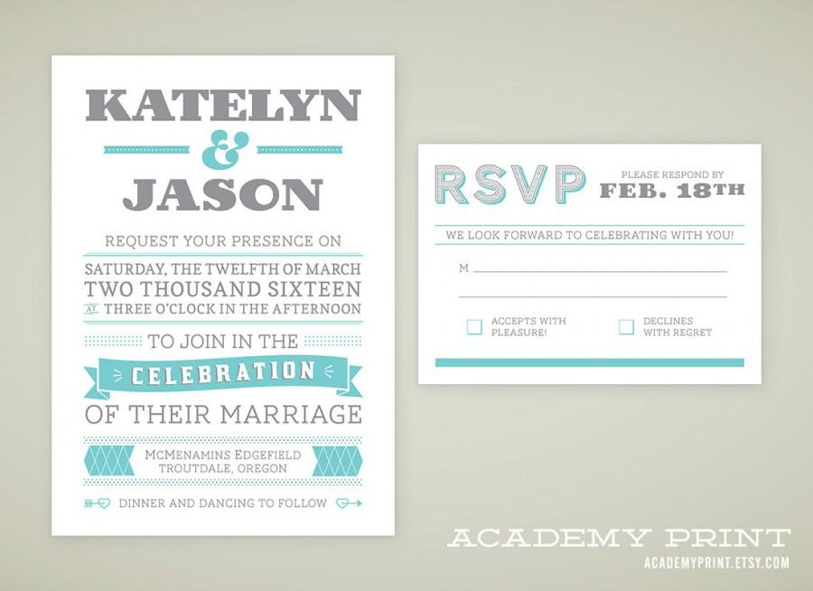 Printable Wedding Invitation And RSVP Set For Multnomah Suite - wedding announcement template