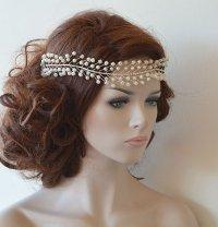 Wedding Headband, Bridal Pearl Hair Vine, Bridal Headband