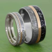Meteorite Wedding Band Set With Rose Gold Pinstripes ...
