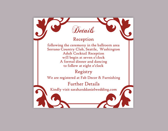 DIY Wedding Details Card Template Editable Word File Instant
