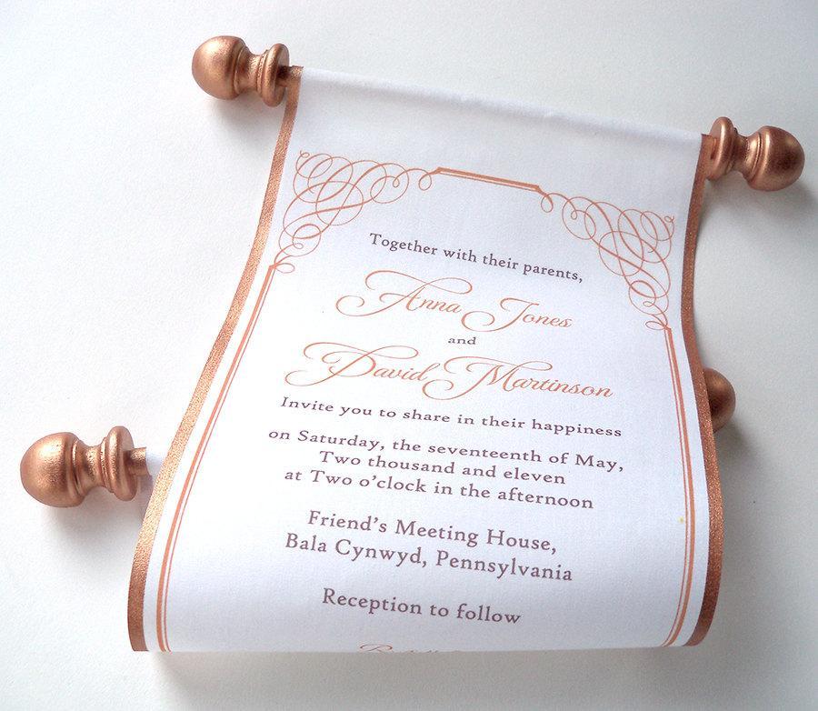 Calligraphy Wedding Invitation, Bronze Fabric Scroll Invitation