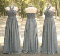 Grey Bridesmaid Dress Handmade Pleat Chiffon Long Wedding ...