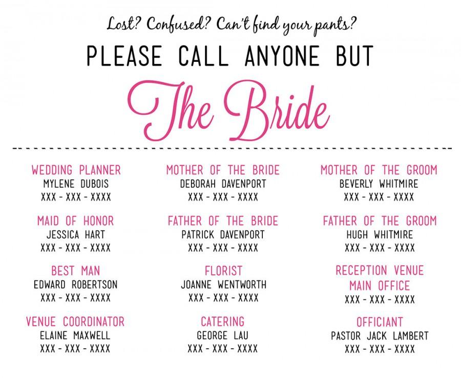 Please Call Anyone But The Bride - Microsoft Word Wedding Insert - contact card template for word