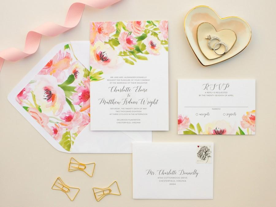 Watercolor Floral Wedding Invitations Pink Flowers