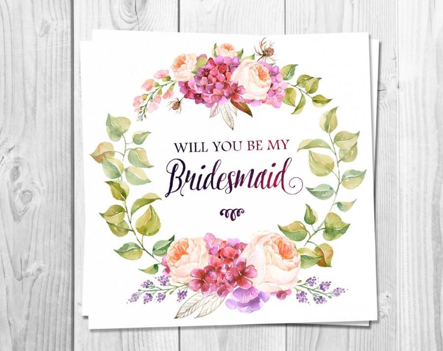 Bridesmaid Card Printable, Will You Be My Bridesmaid, Wedding, Pink