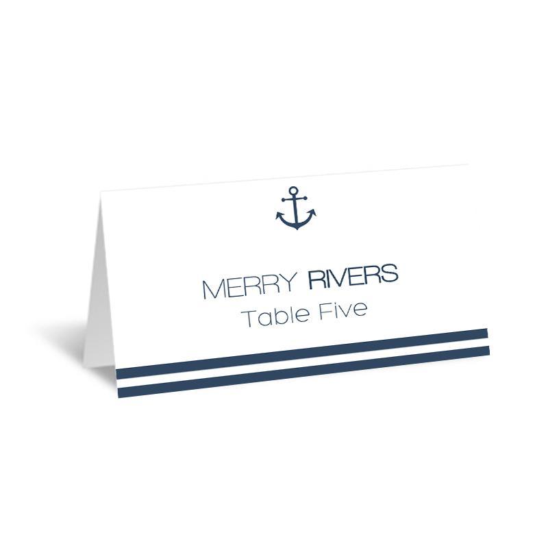 Nautical Wedding Place Card Template Foldover Navy Anchor Striped