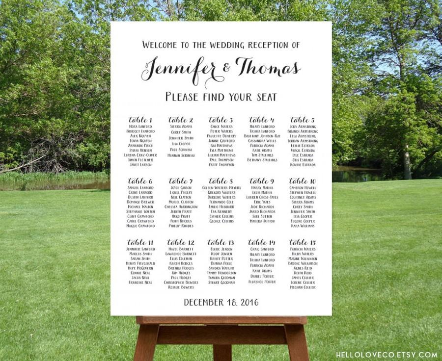 PRINTABLE Large Wedding Seating Chart, Black  White Wedding