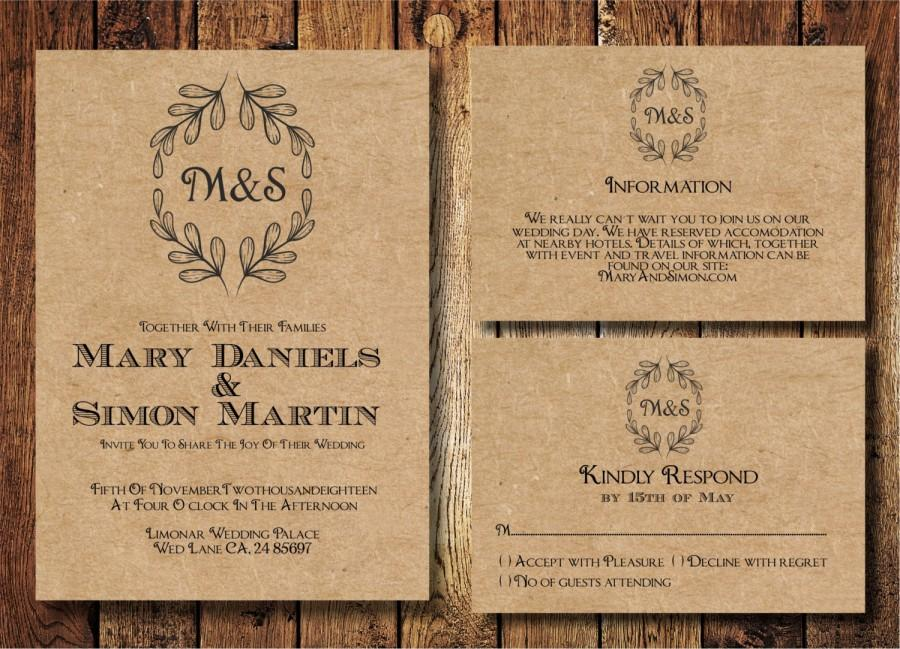 Rustic Wedding Invitation Template Set, Kraft Paper Wreath Casual - rustic wedding invitation