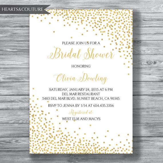Bridal Shower Invitation, WEDDING SHOWER INVITE, Gold Polka Dot