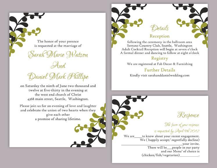 DIY Wedding Invitation Template Set Editable Word File Instant