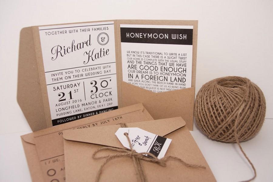 Modern Typography Pocket Fold Wedding Invitation Pack