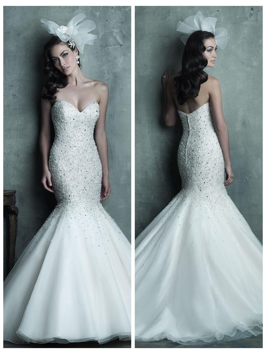 21 mermaid wedding gowns Strapless Sweetheart Beaded Bodice Mermaid Wedding Dress