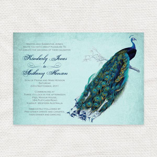 Vintage Peacock Wedding Invitation Printable Diy Wedding Invitations