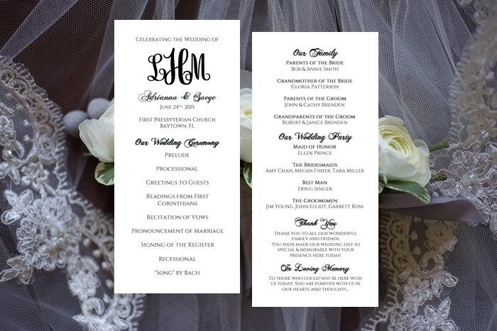 Monogram Wedding Program Template Tea Length Printable INSTANT