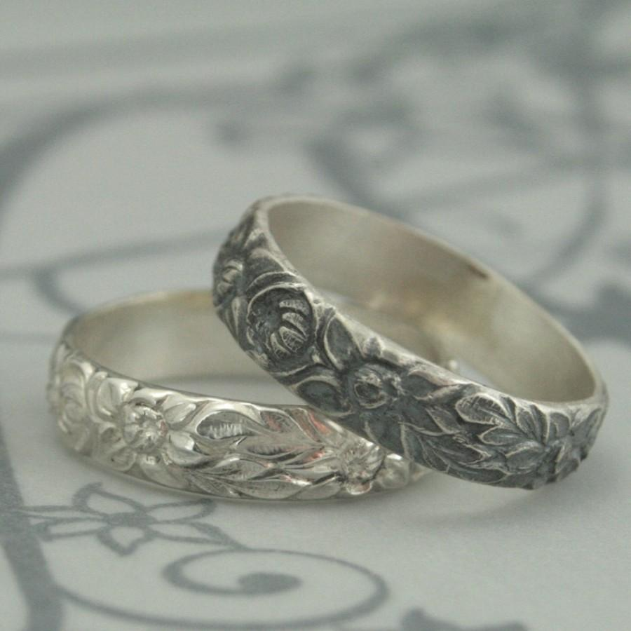 antique style wedding ring the dahlia band sterling silver wedding band download - Antique Style Wedding Rings