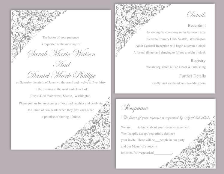 DIY Wedding Invitation Template Set Editable Word File Instant - postcard wedding invitations template free