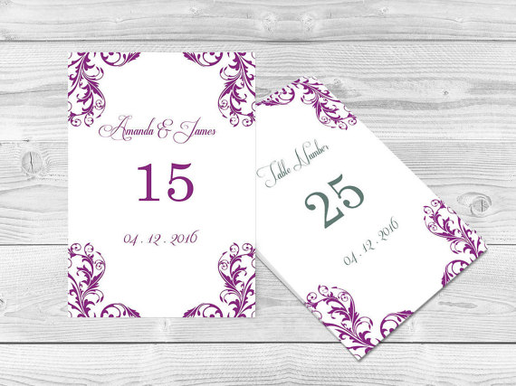 Wedding Table Numbers Template - 4x6 Elegant Orchid Purple Damask