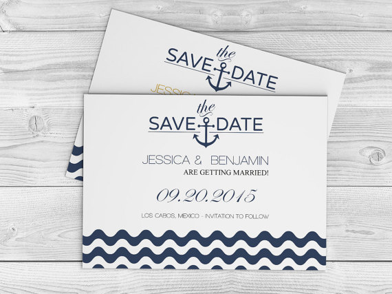 Nautical Wedding Save The Date Template - Navy Anchor Wave Chevron