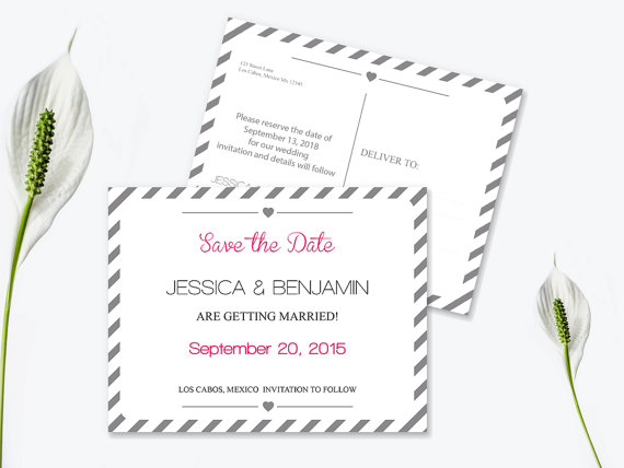 Save The Date Postcard Templates - Silver Grey Carnival Stripes - Save The Date Wedding Templates