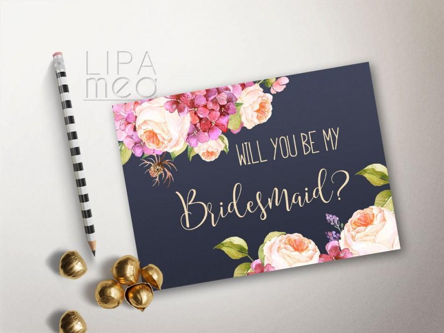 Will You Be My Bridesmaid Card Printable, Floral Bridesmaid Cards