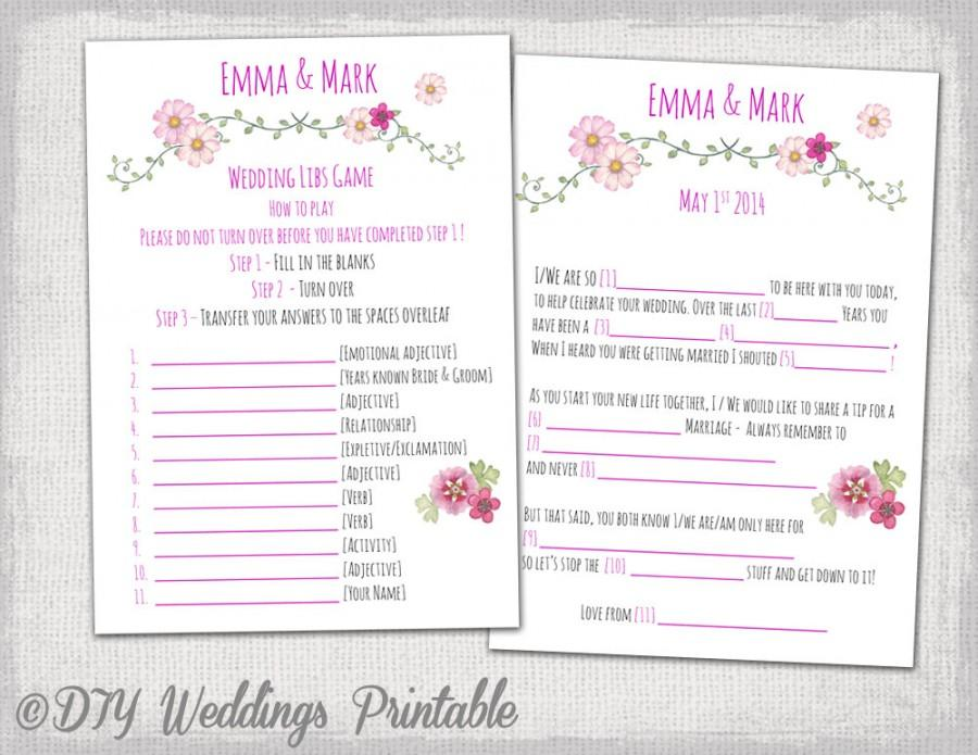 Wedding Mad Libs Template Pink Wedding Libs Printable Guest Card