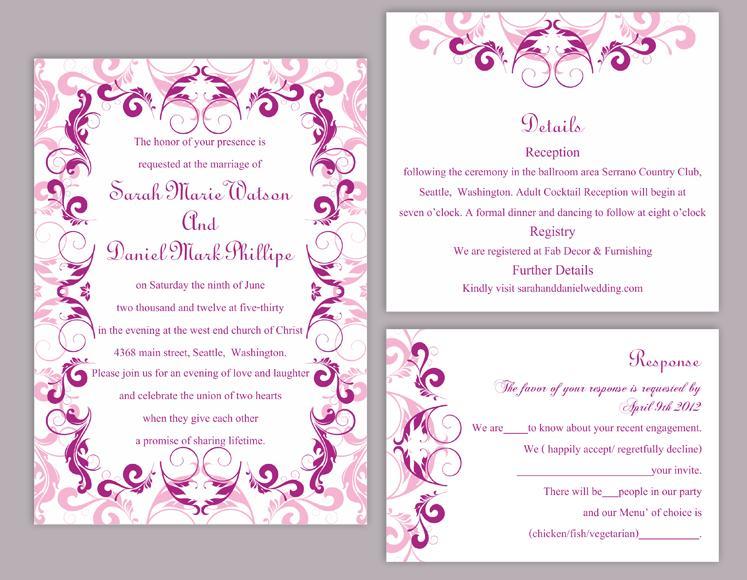 DIY Wedding Invitation Template Set Editable Word File Instant - invitations templates word