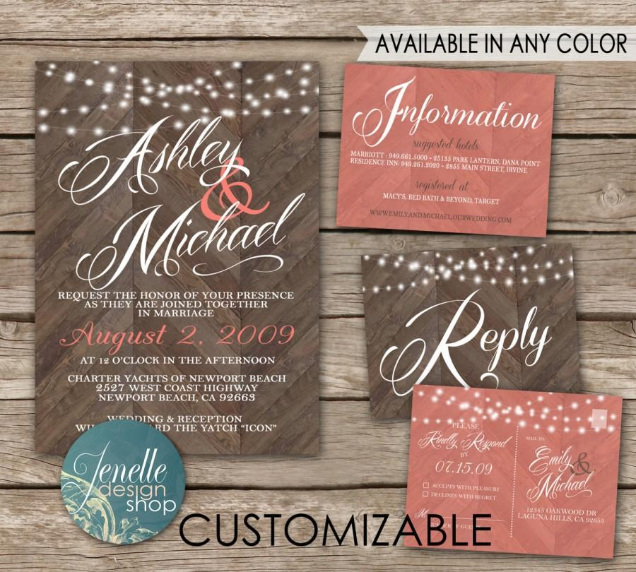 Rustic Wedding Invitations - Chevron Wood, Coral, Save The Date